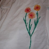 Step 4: Lay a plastic bag between the layers of your t-shirt before drawing your picture or design.