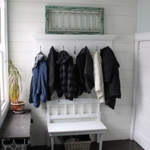 Mud room feature wall