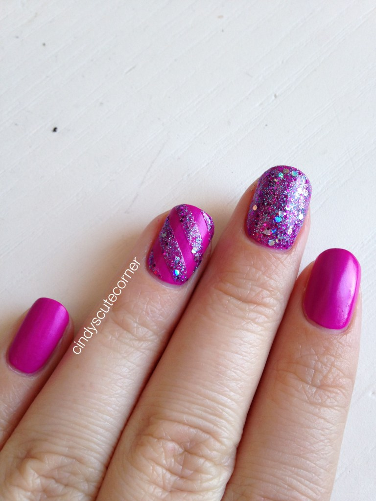 Matte Purple and Glitter Nails4