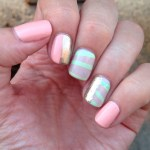 Peach Mint and Gold Water Marble Nails