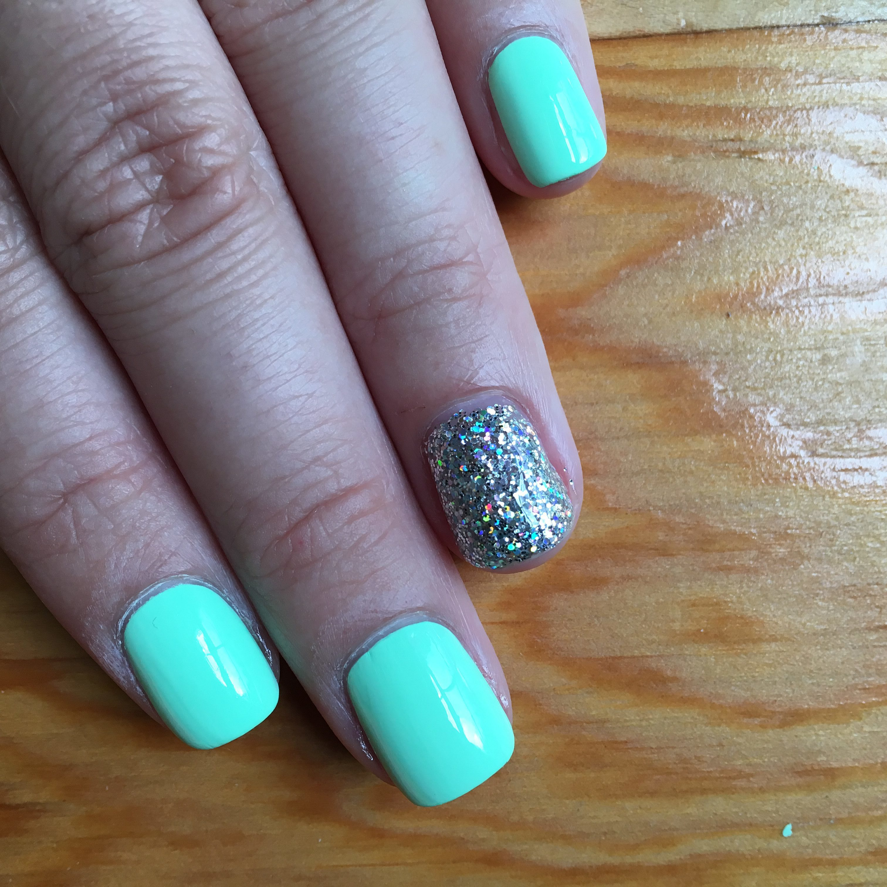 Mint Green and Holo Nails