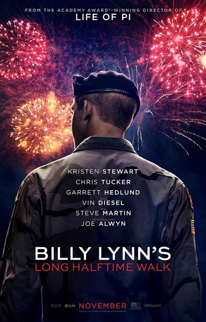 BILLY LYNN'S LONG HALFTIME WALK de Ang Lee con Vin Diesel, Kristen Stewart, Steve Martin y Chris Tucker