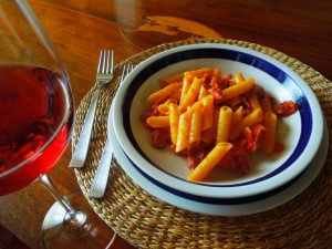 pasta with buffalo speck and grappa