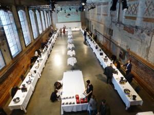 Oslo, la sala della degustazione del Gambero Rosso prima dell'inizio