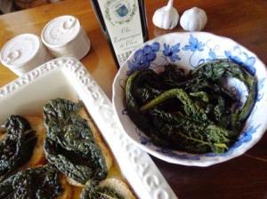 olio extravergine, pane e cavolo