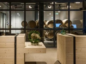 Winey hotel lobby with barrels