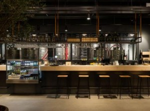 Winery Hotel wine bar with vats
