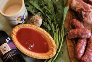 Ingredienti delle costole con i rapi di Montalcino