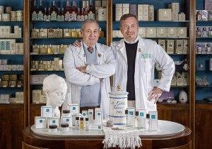 Roberto and Fabio Salvioni in their pharmacy in Montalcino