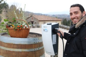 Charging column for electric cars at Fattoria del Colle with Enrico Pelagatti