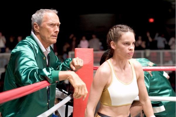 Estados Unidos. - . Cena do filme Menina de Ouro, do diretor e tambem ator do filme Clint Eastwood com a atriz Hilary Swank.