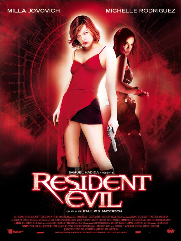 The Poster for the original Resident Evil film (image from Cinemagora)