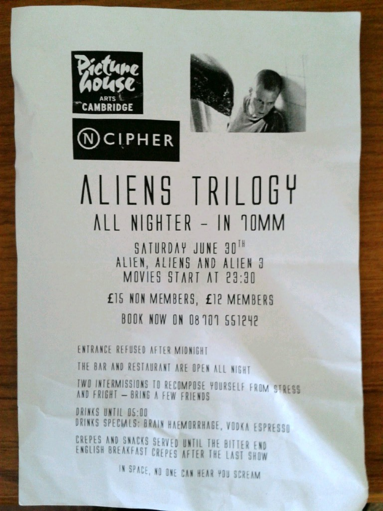 Alien trilogy all-nighter flyer