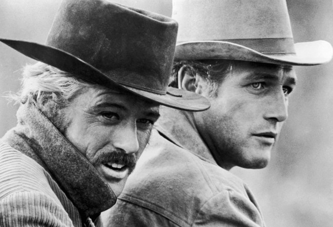 American actors Robert Redford (left) and Paul Newman in a still from the film, 'Butch Cassidy and the Sundance Kid,' directed by George Roy Hill, 1969. (Photo by 20th Century Fox/Archive Photos/Getty Images)