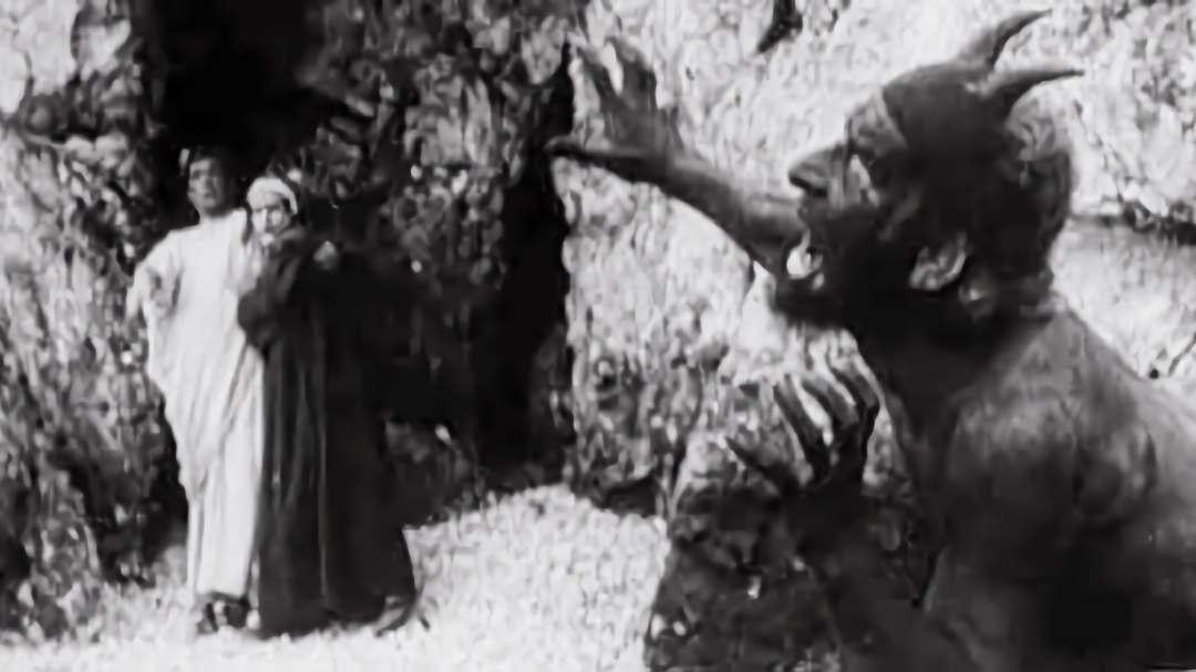 un fotogramma del film, Dante, Virgilio ed un demone