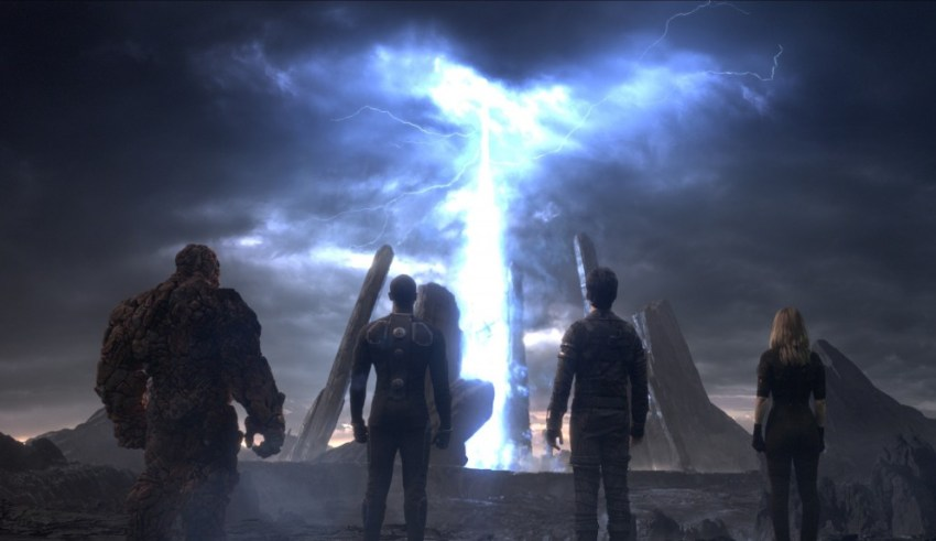 "(L-r) Jamie Bell, Michael B. Jordan, Mile Teller and Kate Mara star in 20th Century Fox's ""Fantastic Four"""
