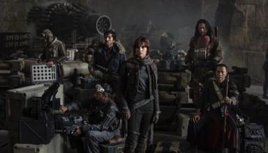 (L-r) Riz Ahmed, Diego Luna, Felicity Jones, Jiang Wen and Donnie Yen star in Lucas Film'sRogue One: A Star Wars Story