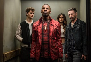 (L-r) Ansel Elgort, Jamie Foxx, Eiza Gonzalez, and Jon Hamm star in Sony Pictures' BABY DRIVER