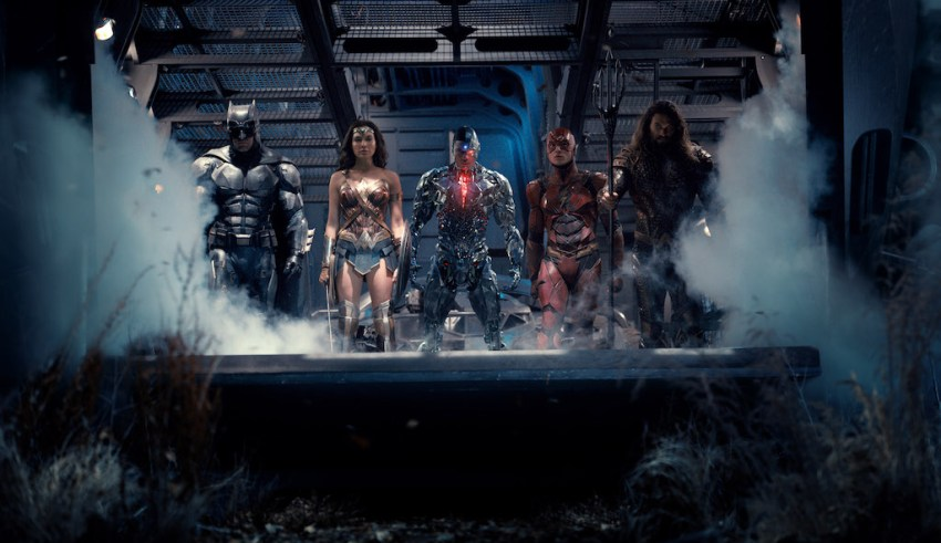 (L-r) Ben Affleck, Gal Gadot, Ray Fisher, Ezra Miller and Jason Mamoa star in Warner Bros. Pictures' JUSTICE LEAGUE