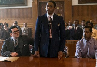 (L-r) Josh Gad, Chadwick Boseman and Sterling K. Brown star in Open Road FIlms' MARSHALL