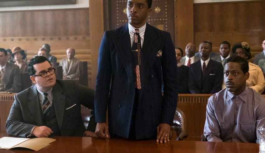 (L-r) Josh Gad, Chadwick Boseman and Sterling K. Brown star in Open Road FIlms' MARSHALL