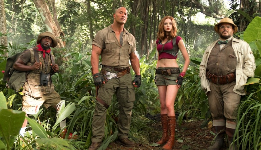 (L-r) Kevin Hart, Dwayne Johnson, Karen Gillan, and Jack Black star in Sony Pictures' JUMANJI: WELCOME TO THE JUNGLE