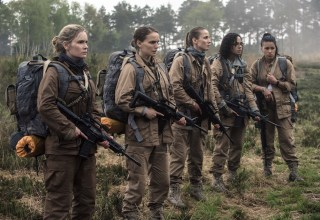 (L-r) Jennifer Jason Leigh, Natalie Portman, Tuva Novotnyin, Tessa Thompson and Gina Rodriguez star in Paramount Pictures' ANNIHILATION