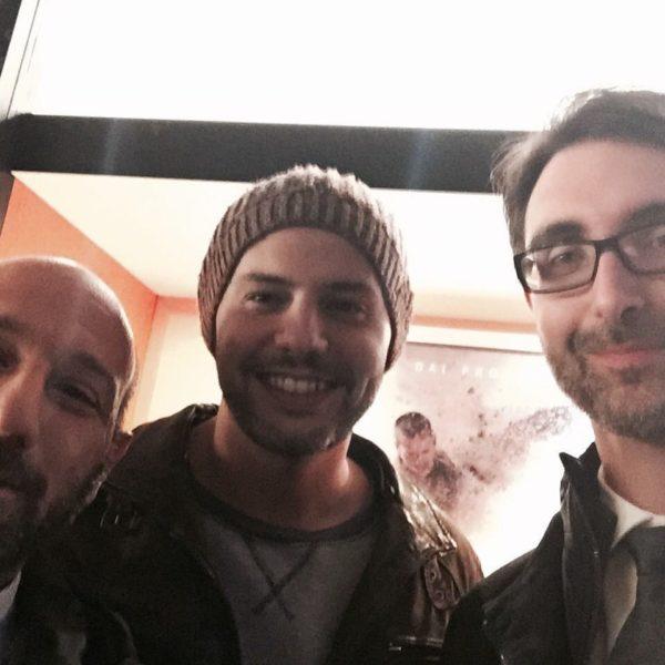 Selfie con i registi di Mine. Da destra: Fabio Guaglione, Fabio Resinaro e il nostro direttore