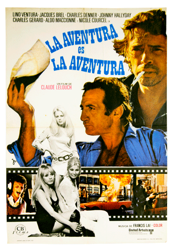 Original film poster of the Lelouch film 'L'aventure, c'est l'aventure 'Jacques Brel Johnny Hallyday