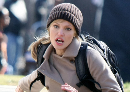 Angelina Jolie On The Set Of 'Salt' In Washington D.C.