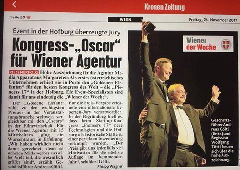 Kongress-Oscar - Kronen Zeitung Artikel 24.11.2017