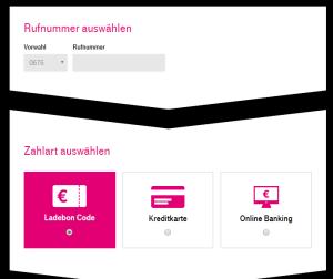 T-Mobile Aufladungs-Portal auf der Mein T-Mobile Webseite