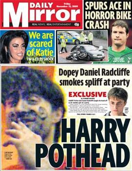 Daniel Radcliffe sulla copertina del Daily Mirror