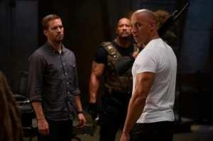 Fast And Furious 6 - I protagonisti Vin Diesel, Paul Walker e Dwayne Johnson (sullo sfondo).