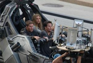 """Transformers: Age of Extinction"", si gira una scena di battaglia."