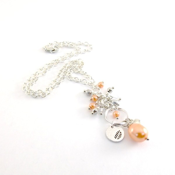 Peach and Silver Necklace