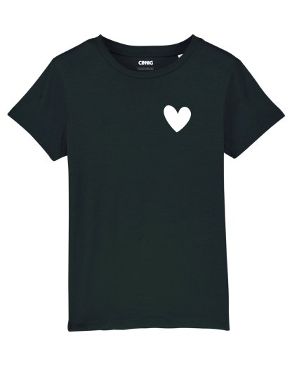 Black Organic T-shirt with heart graphic