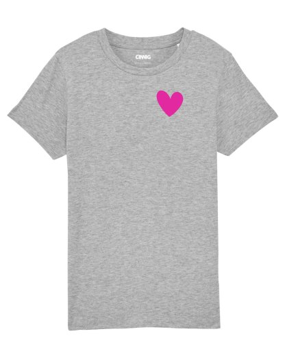 Grey Organic Kid's T-shirt with heart graphic