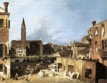Il cortile dello scalpellino dipinto dal Canaletto