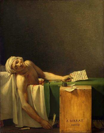 La morte di Marat, uno dei momenti più crudi della Rivoluzione francese immortalato da Jacques-Louis David