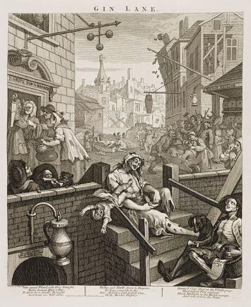 Gin Lane, celebre incisione di William Hogarth