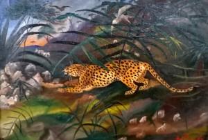 Antonio Ligabue, Leopardo con volatile, 1942-43, collezione privata