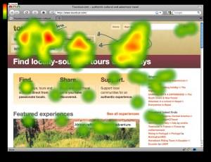 Eye tracking di pagina internet, le parti in rosso sono quelle che catturano di più l'attenzione