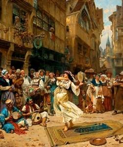 Rappresentazione di musica e danze gitane in una città medioevale