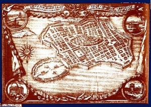 Rappresentazione di Cartagine vista dal mare in stampa spagnola del 1754