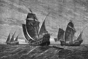 I tre velieri di Colombo in una stampa di Gustav Adolf Closs del 1892