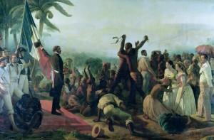 Dipinto di Francois-Auguste Biard raffigurante la fine della schiavitù nelle colonie francesi nel 1848