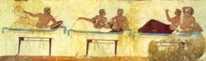 Scena di un simposio: musica ed intrattenimento; dalla Tomba del tuffatore, Museo Archeologico Nazionale di Paestum