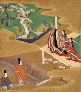 Illustrazione romanzo classico giapponese Genji monogatari, scritto da cortigiana vissuta nel periodo hanani