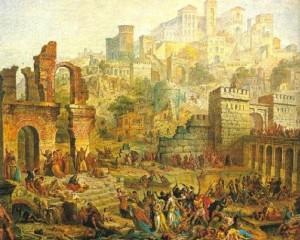 Attacco agli ebrei di Metz per mano di alcuni nobili, in maggior parte tedeschi, e di pellegrini infiammati dalla predicazione della prima crociata, dipinto di Auguste Migette